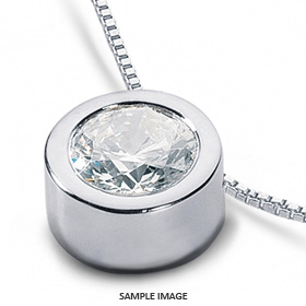14k White Gold Solid Style Solitaire Pendant 1.51 carat G-SI2 Round Brilliant Diamond
