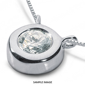 14k White Gold Solid Style Solitaire Pendant 1.01 carat D-VS2 Round Brilliant Diamond