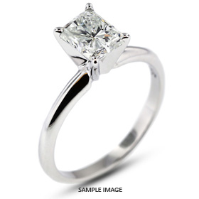 14k White Gold Classic Style Solitaire Engagement Ring 1.53ct D-VS2 Rectangular Radiant Cut Diamond