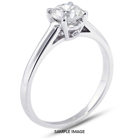 Platinum Basket Style Solitaire Engagement Ring 0.79ct F-VS1 Round Brilliant Diamond