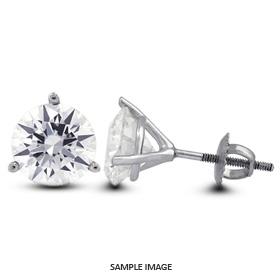 0.84 Carat tw. Round Brilliant Diamond Martini Style Stud Earrings 14k White Gold (F-SI2)