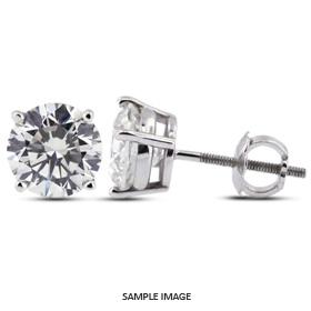 0.92 Carat tw. Round Brilliant Diamond Basket Style Stud Earrings 14k White Gold (F-VS2)
