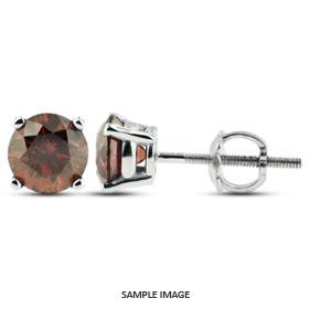 0.96 Carat tw. Round Brilliant Diamond Basket Style Stud Earrings 14k White Gold (Red-VS2)