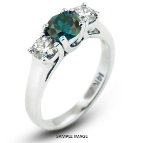 14k White Gold Gold Three Stone Trellis Ring 2.97 carat total Blue-SI1 Round Brilliant Diamond