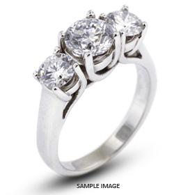 14k White Gold Gold Three Stone Trellis Ring 1.70 carat total H-SI3 Round Brilliant Diamond