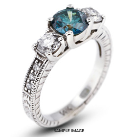 14k White Gold Gold Three Stone Vintage Trellis Ring 1.92 carat total Blue-SI1 Round Brilliant Diamond